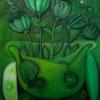 Marion Lucka: Stillleben in heilgrün, Öl 50 x 60 cm (2016)