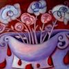 Marion Lucka: Blutendes Stillleben, 50 x 70 cm (2014)