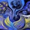 Marion Lucka: Stillleben in Gelb-Violett, Öl, 50 x 70 cm (2014)