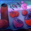 Marion Lucka: Stillleben mit Rose, Öl, 80 x 120 cm (2004)