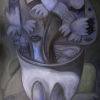 Marion Lucka: Geister im Stillleben, Öl, 50 x 70 cm (2016)