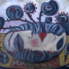 Marion Lucka: Stillleben in Dunkel, 50 x 70 cm (2015)