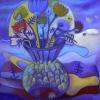 Marion Lucka: Stillleben mit fischiger Vase, 80 x 80 cm (2015)e (2015)