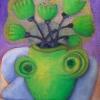 Marion Lucka: Stillleben mit grüner Vase, 30 x 40 cm (2014)