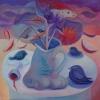 Marion Lucka: Stillleben mit Vögeln, 100 x 100 cm (2010)