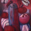 Marion Lucka: Stillleben mit weißen Blüten, Öl, 80 x 120 cm (1999)