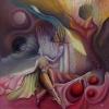 Marion Lucka: Tanz mit der Kugeln, Öl, 60 x 60 cm (1989)