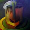 Marion Lucka: Dämon, Öl, 40 x 50 cm, (1995)