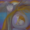 Marion Lucka: Katzenmutter, 90 x 100 cm (1991)