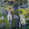Marion Lucka: Sehnsucht nach Grün und dunklen Äpfeln, Öl, 100 x 100 cm (2013)