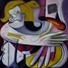 Marion Lucka: Abwehr1, Öl, 100 x 100 cm (1998)