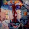 Marion Lucka: Angstbaum, Öl, 100 x 100 cm (2007)