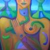 Marion Lucka: Blütenwächter, Öl, 70 x 100 cm (2005)