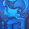 "Marion Lucka: Ölgemälde "" Blaues Sonnenauge"" 40 x 50 cm (2002)"