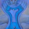 """Marion Lucka: """"Engel in blau"""", Öl, 18 x 23 cm (2017)"""