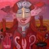 Marion Lucka: Fremde 3, Öl, 80 x 80 cm (2016)