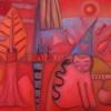 Marion Lucka: Gang über die Brücke2, Öl 60 x 80 cm (2017)