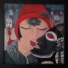"Marion Lucka: Ölgemälde ""Schwarzenr Kuss"" 60 x 60 cm (2007) sold"