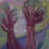 Marion Lucka: Park, Öl, 40 x 40 cm (2012)