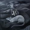 Marion Lucka: Rattenmann,Öl, 100 x 120 cm (1997)