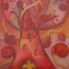 "Marion Lucka: Ölgemälde ""Roter Lebensbaum"" 100 x 120 (2020)"