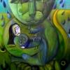 """Marion Lucka: Ölgemälde """"Trösterkatze"""" 70 x 100 cm (2017)"""