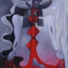 Marion Lucka: Blutbad, Öl, 30 x 40 cm (1994)