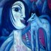 Marion Lucka: Begegung im Winter, Öl, 120 x 130 cm (2001)