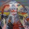Marion Lucka: Ohren und Halsraushänger, Öl, 100 x 100 cm (2013)