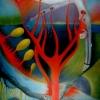 Marion Lucka: Abwärts, Ol 30 x 40 cm (1990)