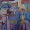 Marion Lucka: Abwehr2, Öl, 80 x 80 cm (2012)