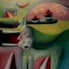 Marion Lucka: Am grünen Meer; Öl, 30 x 40 cm ((1990)