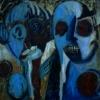 Marion Lucka: Paar, Öl, 100 x 100 cm (1998)