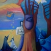 Marion Lucka: Aufstieg, Öl, 70 x 90 cm (1995)