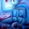 """Marion Lucka: Ölgemälde """" Aus der Kälte"""" 90 x 100 cm (1998)"""