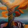 Marion Lucka: Tanz ins Jenseits, Öl, 30 x 40 cm (1992)
