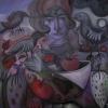 Marion Lucka: Gesicht, Aquarell,15 x 20 cm (2004) Düstervögel und Obst, Öl, 100 x 100 cm (2016)