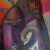 Marion Lucka: Dreikopfkatze, Öl, 60 x 80 cm (1998)