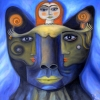 Marion Lucka: Dunkler Katzenkopf und Engel, Öl, 50 x 50 cm (2016)