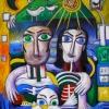 Marion Lucka: Traumfamilie, Acryl, 100 x 120 cm (1996))