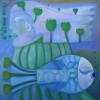 Marion Lucka: Fischengel, Öl 50 x 50 cm (2013)