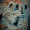 Marion Lucka: Fisch in der Stadt, Öl, 50 x 60 cm (1994)