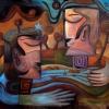 Marion Lucka: Freundschaft, Öl, 100 x 120 cm ((1997)