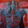 Marion Lucka: Handrot, Öl, 80 x 80 cm (2016)