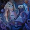 Marion Lucka: Herbstplaneten, Öl, 90 x 90 cm (2007)