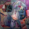 Marion Lucka: Dunklere Gedanken, Öl, 100 x 100 cm (2010)
