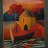 """Marion Lucka: Ölgemälde """" Gelbe Häuser und Boot"""" 30 x 40 cm (1990)"""