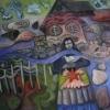 "Marion Lucka: Insel weht Gedanken weg"" 80 x 80 cm (2017)"