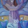 Marion Lucka: Baumfrau mit Katze; Öl, 70 x 100 cm (2012)