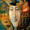 Marion Lucka: Pharao, Öl, 90 x 100 cm (1995)